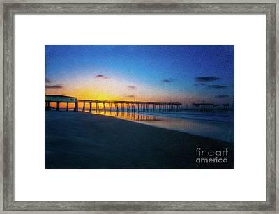 Frisco Pier Sunrise Outer Banks North Carolina Ap Framed Print