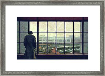 Frits Is Overlooking His Philips Plants In Eindhoven Framed Print by Nop Briex