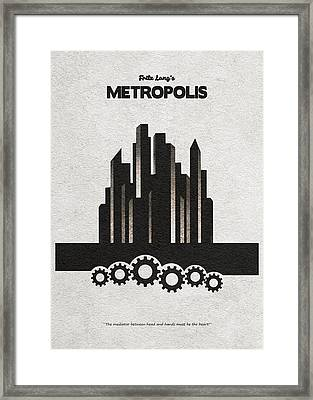 Framed Print featuring the painting Fritz Lang's Metropolis Alternative Minimalist Movie Poster by Inspirowl Design