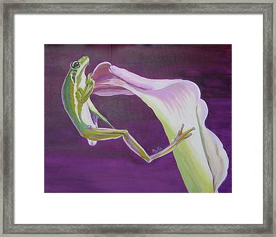 Framed Print featuring the painting Frog And His Flower by Phyllis Kaltenbach