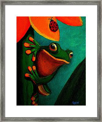 Frog And Ladybug Framed Print