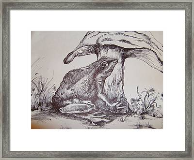 Frog And Toadstool Framed Print