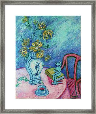 Framed Print featuring the painting Frog Fishing Under Chrysanthemums by Xueling Zou