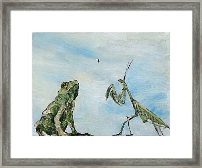 Frog Fly And Mantis Framed Print by Fabrizio Cassetta