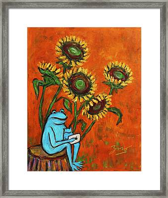 Frog I Padding Amongst Sunflowers Framed Print by Xueling Zou
