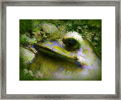 Framed Print featuring the photograph Frog In The Pond by Lori Seaman