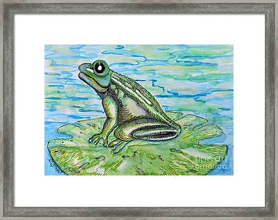 Frog On A Lily Pad Framed Print