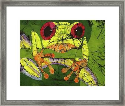 Frog On Gingko Framed Print