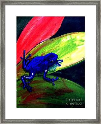 Frog On Leaf Framed Print by Michael Grubb