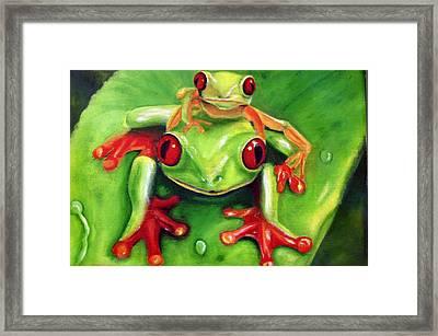 Frog Rodeo Framed Print by Darlene Green