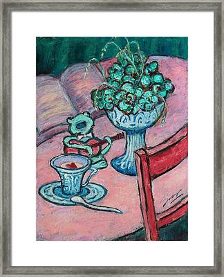 Framed Print featuring the painting Frog Singing At Teatime by Xueling Zou