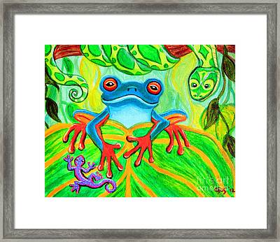Frog Snake And Gecko In The Rainforest Framed Print by Nick Gustafson