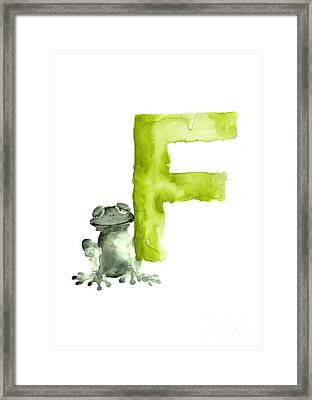 Frog Watercolor Alphabet Painting Framed Print