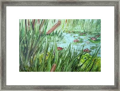 Frog Went A-courtin Framed Print