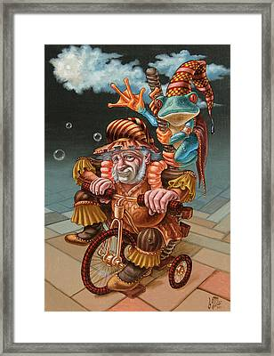 Froggy Circus Framed Print