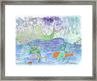 Froggy Delight And Fly Fishing Framed Print