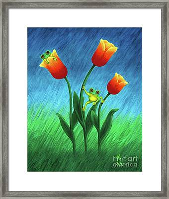 Froggy Tulips Framed Print