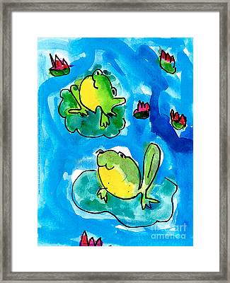 Frogs Framed Print by Elyse Bobczynski Age Five