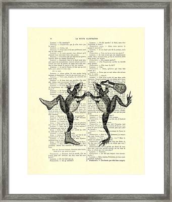 Frogs With Mandolin Music Print Vintage Animals Illustration Framed Print by Madame Memento