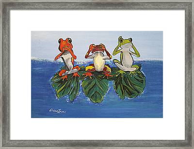 Frogs Without Sense Framed Print by Debbie Levene