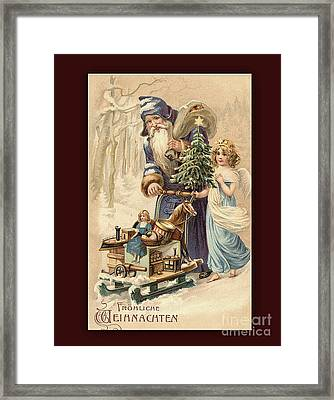 Frohe Weihnachten Vintage Greeting Framed Print by Melissa Messick