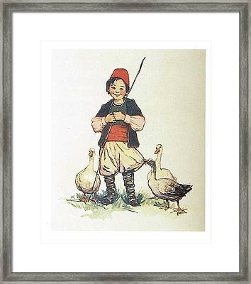 Frolic For Fun Boy And Geese Framed Print by Reynold Jay