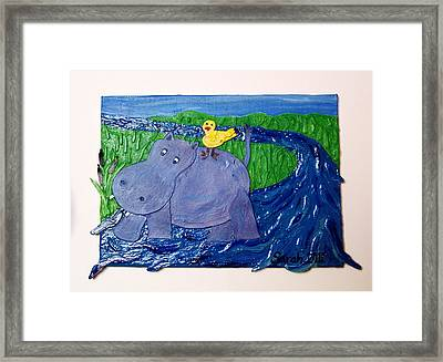 Frolic With Hippo And Bird Framed Print by Sarah Swift