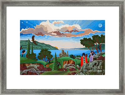 Framed Print featuring the painting From A High Place, Troubles Remain Small by Chholing Taha