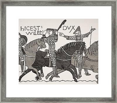 From Bayeux Tapestry. William Duke Of Framed Print