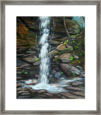 From Behind Moore Cove Falls Framed Print by Sandy Hemmer
