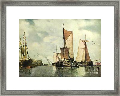 Framed Print featuring the digital art From Sail To Steam - Transitions by Lianne Schneider
