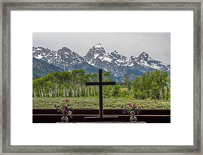 From The Chapel Of The Transfiguration In The The Grand Tetons Framed Print