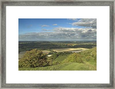 From The Downs To The Weald Framed Print by Hazy Apple