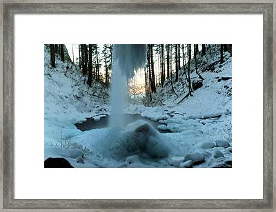 From The Inside Of The Falls Framed Print by Jeff Swan