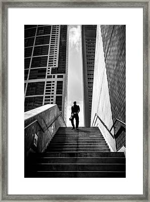 From The Sky - Chicago, United States - Black And White Street Photography Framed Print