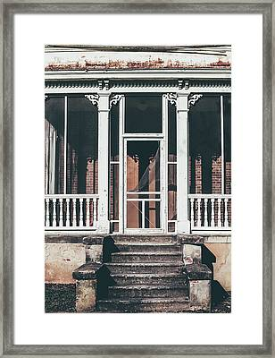 Framed Print featuring the photograph Front Door Of Abandoned Building by Kim Hojnacki