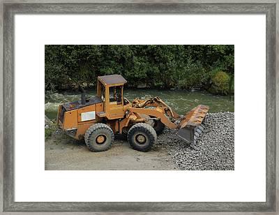 Front End Loader And Rock Pile Framed Print by Robert Hamm