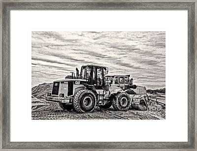 Front End Loader Black And White Framed Print by Tom Gari Gallery-Three-Photography