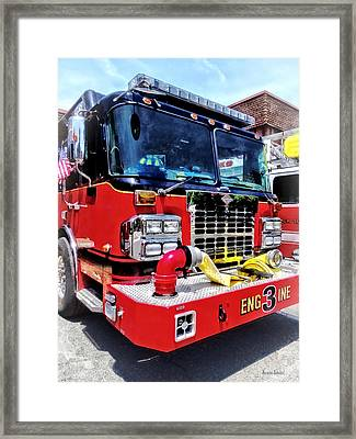 Front Of Fire Truck With Hose Framed Print