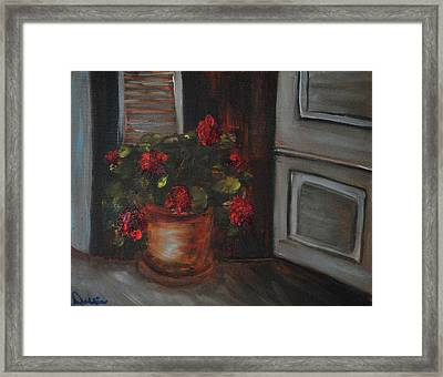 Front Porch Flowers Framed Print