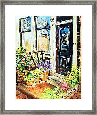 Framed Print featuring the painting Front Porch by Linda Shackelford