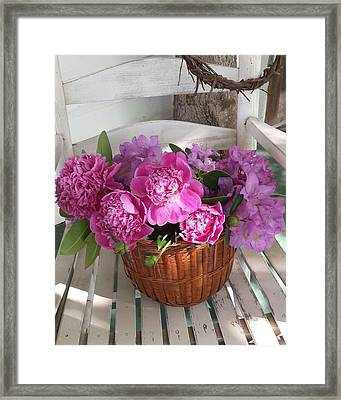 Framed Print featuring the photograph Front Porch Peonies by Deb Martin-Webster