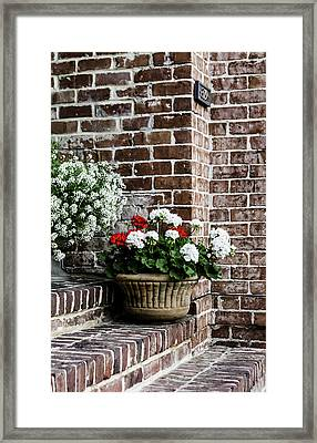 Framed Print featuring the photograph Front Porch With Flower Pots by Kim Hojnacki