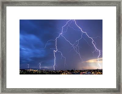 Front Range Lightning Framed Print by Dave Crowl