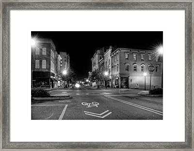 Front Street In Wilmington North Carolina In Black And White Framed Print
