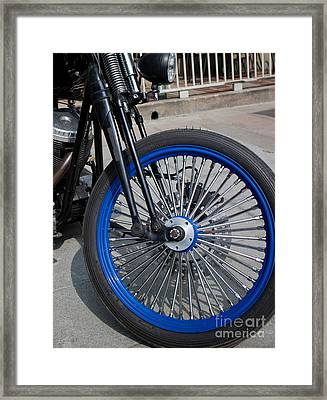 Front Wheel With Blue Rims And Fat Chrome Spokes Of Vintage Styl Framed Print