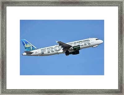 Frontier Airbus A319-214 N210fr Sheldon The Sea Turtle Phoenix Sky Harbor January 21 2016 Framed Print by Brian Lockett