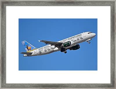 Frontier Airbus A320-214 N213fr Montana The Elk Phoenix Sky Harbor January 12 2015 Framed Print by Brian Lockett