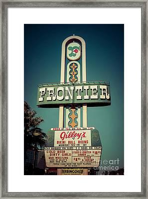 Frontier Hotel Sign, Las Vegas Framed Print