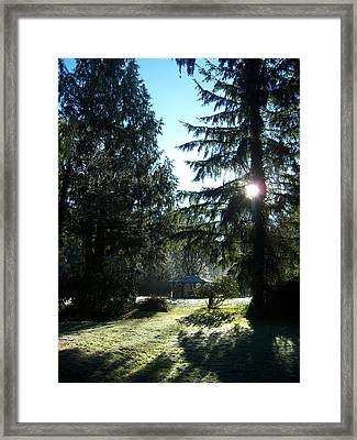 Frosted Gazebo Framed Print by Ken Day